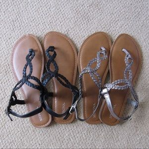 Merona 2 pairs of sandals - black and copper sz 9